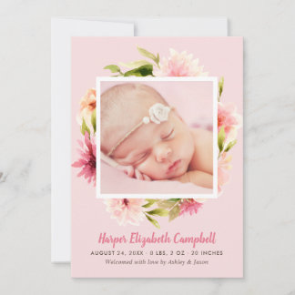 Baby Birth Announcement Card | Watercolor Flowers