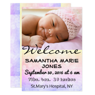 Baby Birth Announcement Girl or Boy Customize