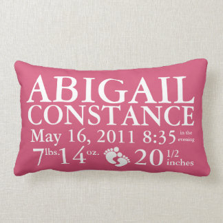 Baby Birth Announcement Pillow Personalized Throw Cushion