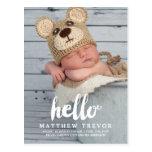 Baby Birth Announcement Postcard   Hello
