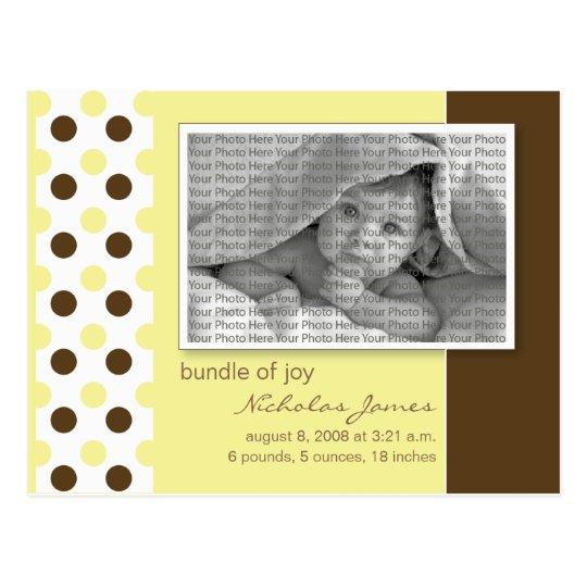 Baby Birth Announcement Yellow Polka Dots Postcard
