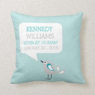 Baby Birth Keepsake Custom Pillow | Mint Green Cushions