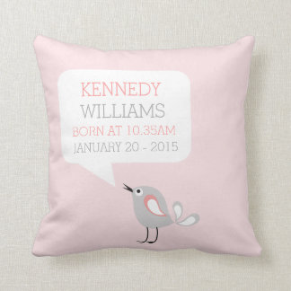 Baby Birth Keepsake Custom Pillow | Pastel Pink