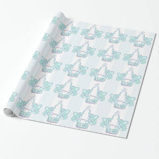 Baby birth new baby name blue wrap wrapping paper