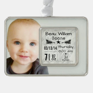 Baby Birth Stats Birth Record Christmas Photo Silver Plated Framed Ornament