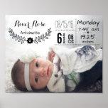 Baby Birth Stats Birth Record Keepsake Photo Poster