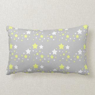 Baby Birth Stats Celestial Yellow White Stars Gray Lumbar Cushion