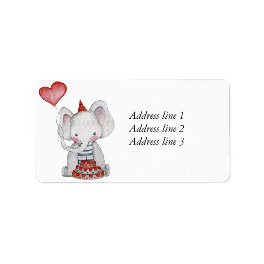 Baby Birthday Elephant Address Label