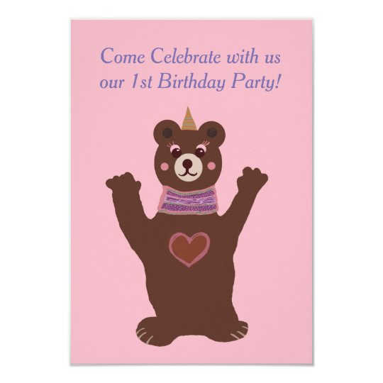 Baby Birthday invitation, bear Card
