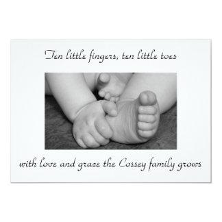 baby,black,and,white,feet,hands,photograph,big,... 13 cm x 18 cm invitation card