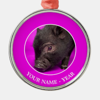 Baby Black Pig Silver-Colored Round Decoration