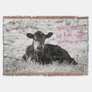 Baby Black & White Calf Throw Blanket