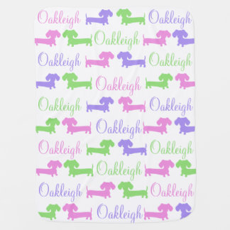 Baby Blanket Custom Name Dachshunds Wiener Dogs
