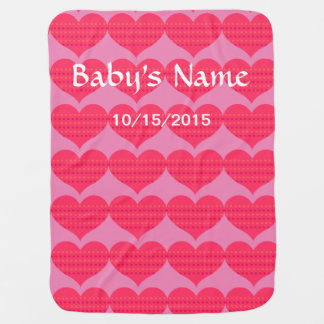 Baby Blanket Hearts Personalize Name Birth Date