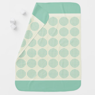 BABY-BLANKET-MOD-ACCENTS-TEAL-CREAM-Two-Sided Baby Blanket