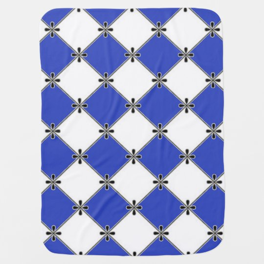 Baby-Blanket--Stylish-Diamond's_Blue-White Baby Blanket
