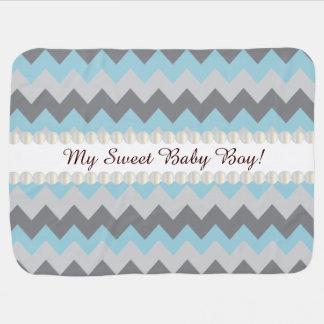 Baby Blanket- Sweet Baby Boy Chevron Design Stroller Blanket