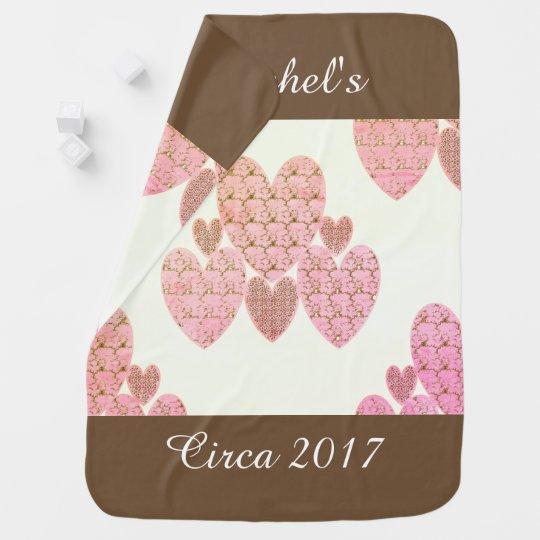 Baby-Blanket-Unisex-Monogram_Country-Hearts-Brown Baby Blanket