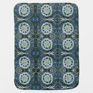 Baby Blanket White mandala blue background
