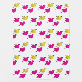 Baby blanket with birds, for girls