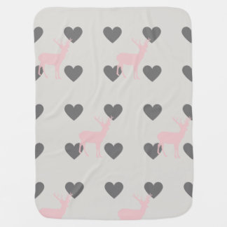 Baby Blanket with Grey Hearts and Pink Deer