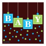 BABY Blocks Blue Green Boy Couples Baby Shower 13 Cm X 13 Cm Square Invitation Card