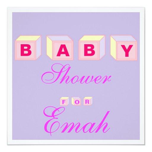 "Baby Blocks-girl 5.25"" Square Invitation Card"