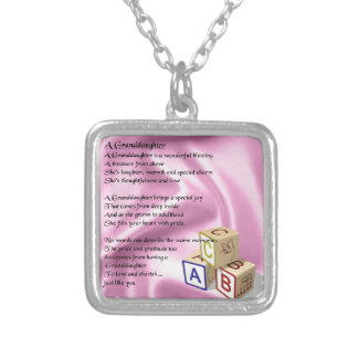 Baby Blocks Granddaughter  poem Silver Plated Necklace