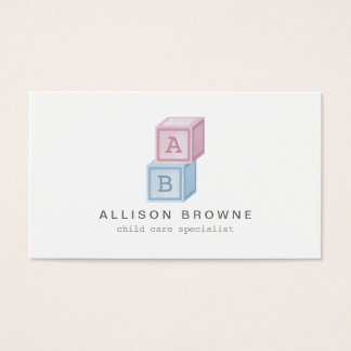 Baby Blocks Monogram Childcare, Babysitter Card