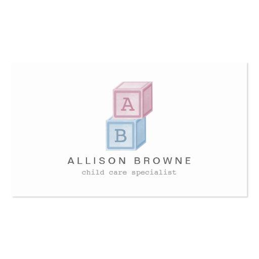 Baby Blocks Monogram Childcare, Babysitter Card Business Card