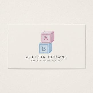 Baby Blocks Monogram Childcare, Babysitter Card II