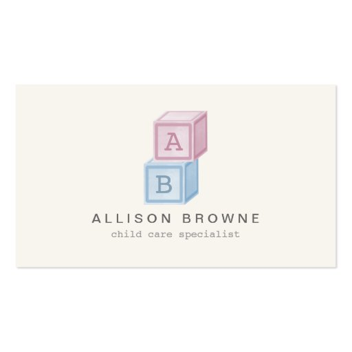 Baby Blocks Monogram Childcare, Babysitter Card II Business Card Template