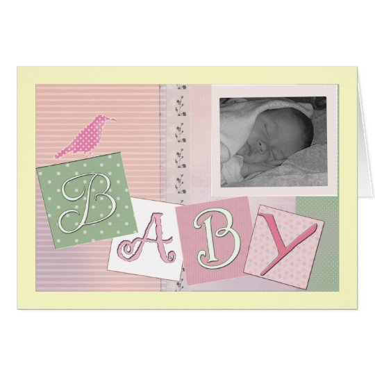 Baby blocks with bird - customise your own! card