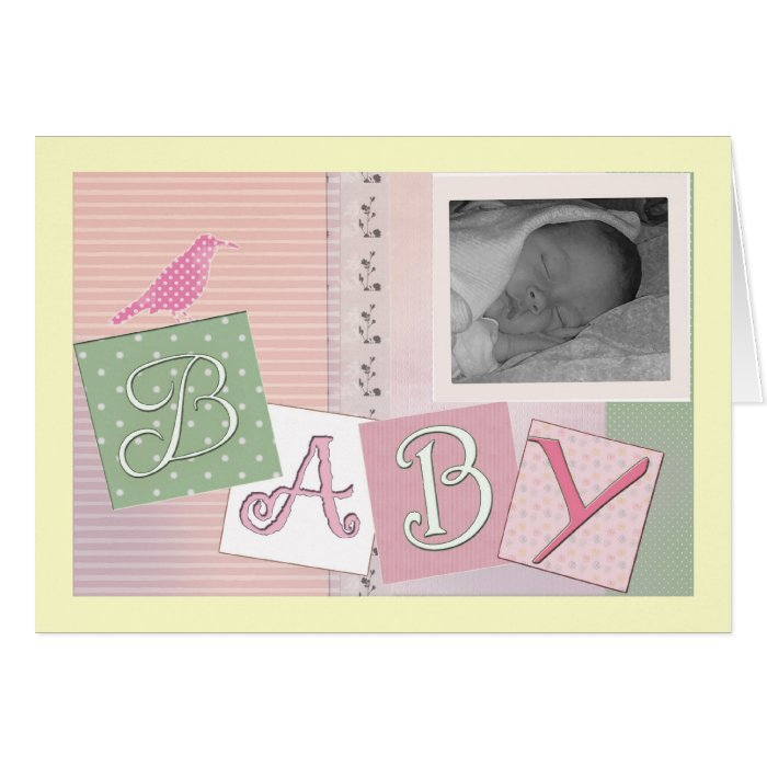 Baby blocks with bird - customise your own! greeting card