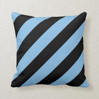 Baby Blue and Black Diagonal Stripes Pillow