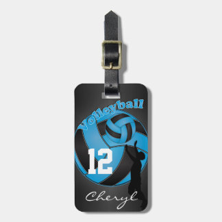Baby Blue and Black Sporty Volleyball Luggage Tag