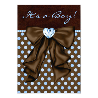 Baby Blue and Brown Baby Shower 13 Cm X 18 Cm Invitation Card