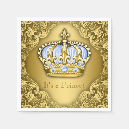 Baby Blue and Gold Crown Baby Shower Paper Napkin