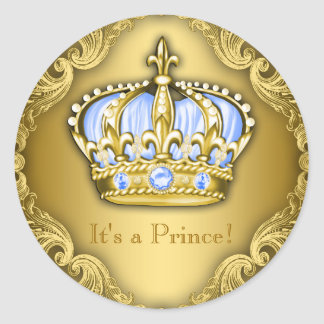 Baby Blue and Gold Prince Baby Shower Round Sticker