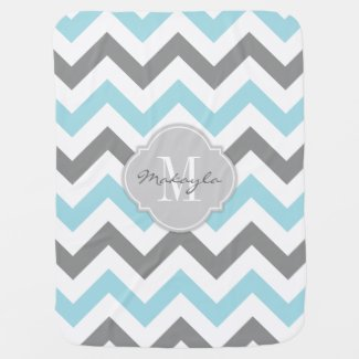 Baby Blue and Grey Chevron with Monogram Baby Blanket