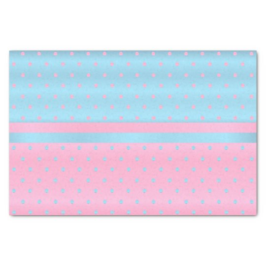 Baby Blue and Pastel Pink Polka Dots Tissue
