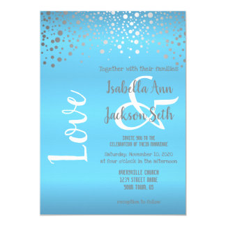 Baby Blue and Silver Confetti Dots Card