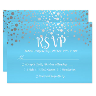 Baby Blue and Silver Confetti Dots - RSVP Card