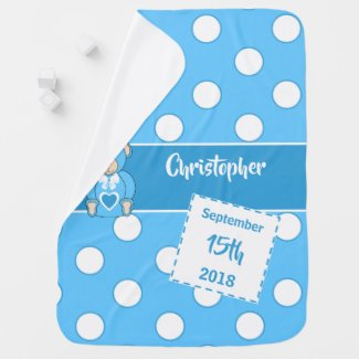 Baby Blue and white date of birth teddy bear Baby Blanket