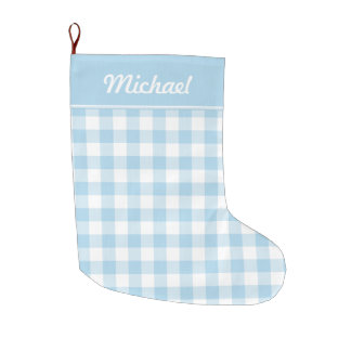 Baby Blue and White Gingham Personalized Large Christmas Stocking