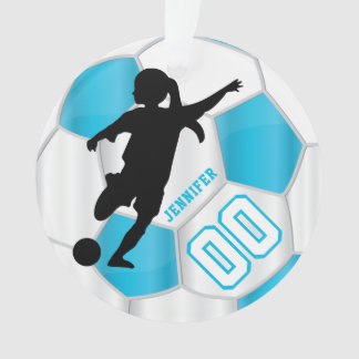 Baby Blue and White Personalize Girl Soccer Player Ornament