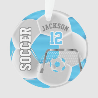Baby Blue and White Personalize Soccer Ball Ornament