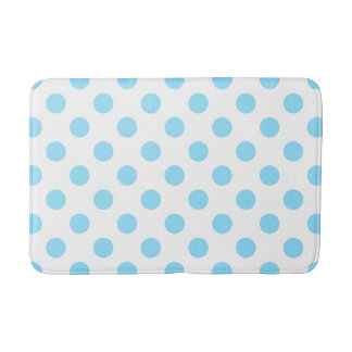 Baby blue and white polka dots bath mat