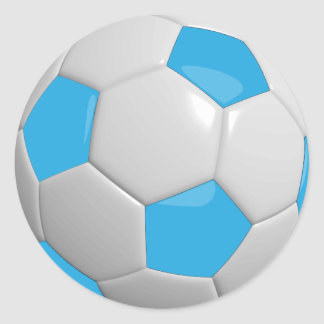 Baby Blue and White Soccer Ball Round Sticker