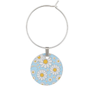Baby Blue and White Spring Daisies Wine Charms